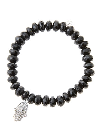 8mm Faceted Black Spinel Beaded Bracelet with 14k White Gold/Diamond Medium Hamsa Charm (Made ...