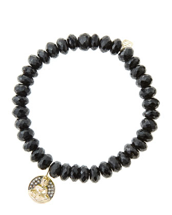 8mm Faceted Black Spinel Beaded Bracelet with 14k Gold/Diamond Sitting Buddha Charm (Made to ...