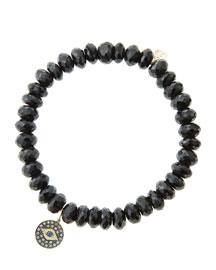 8mm Faceted Black Spinel Beaded Bracelet with 14k Gold/Rhodium Diamond Small Evil Eye Charm ...