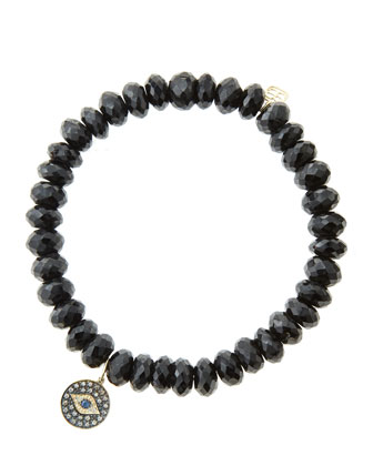 8mm Faceted Black Spinel Beaded Bracelet with 14k Gold/Rhodium Diamond Small Evil Eye Charm ...