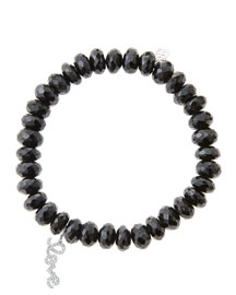8mm Faceted Black Spinel Beaded Bracelet with 14k White Gold/Diamond Love Charm (Made to Order) ...