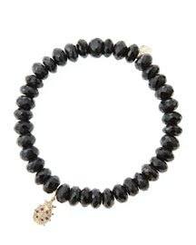 8mm Faceted Black Spinel Beaded Bracelet with 14k Gold/Diamond Medium Ladybug Charm (Made to ...