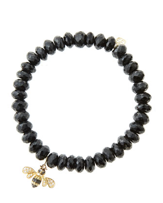 8mm Faceted Black Spinel Beaded Bracelet with 14k Gold/Diamond Bee Charm (Made to Order)
