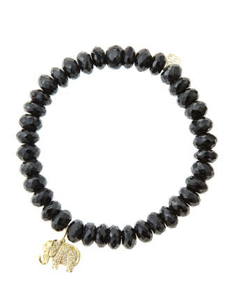 8mm Faceted Black Spinel Beaded Bracelet with 14k Gold/Diamond Small Elephant Charm (Made to ...