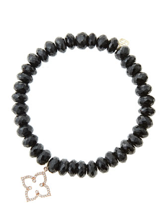 8mm Faceted Black Spinel Beaded Bracelet with 14k Rose Gold/Diamond Moroccan Flower Charm (Made ...