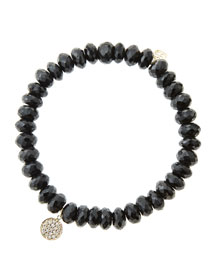 8mm Faceted Black Spinel Beaded Bracelet with Mini Yellow Gold Pave Diamond Disc Charm (Made ...