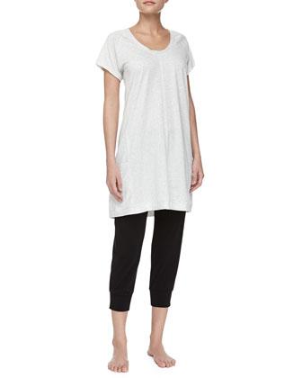 Short-Sleeve Pima Cotton Sleepshirt, Heather Gray