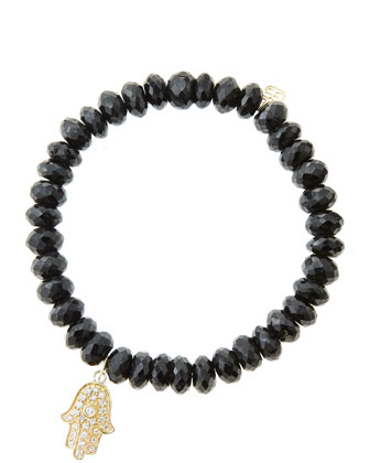 8mm Faceted Black Spinel Beaded Bracelet with 14k Yellow Gold/Diamond Medium Hamsa Charm (Made ...
