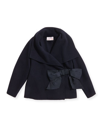Asymmetric Jacket with Bow, Navy, Size 6