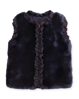 Ruffled Faux-Fur Vest, Amethyst, Size 6
