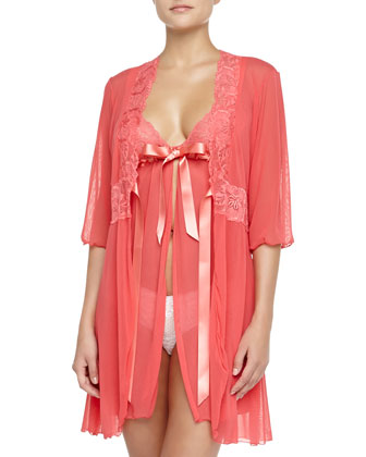 Fetherston Tie-Front Sheer Babydoll, Shell Pink