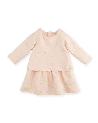 Mini-Bow Printed Fleece Dress, Magnolia, Sizes 2-3