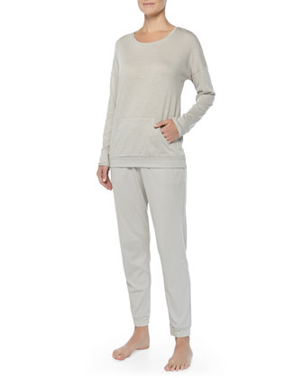 Cashmere-Blend Soho Dolman-Sleeve Top, Pergament