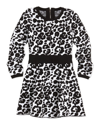 Cheetah-Print Flare Dress, Black/White, Sizes 2-7