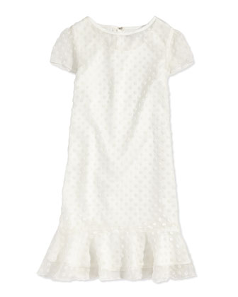 Velvet Polka-Dot Flounce Dress, Off White, Sizes 5-8