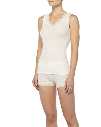 Lace-Trimmed Wool-Silk Tank Top, Pale Cream