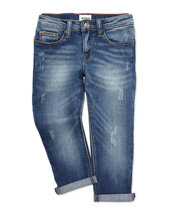 Garageland Distressed Boyfriend Jeans, Blue, Sizes 4-6X