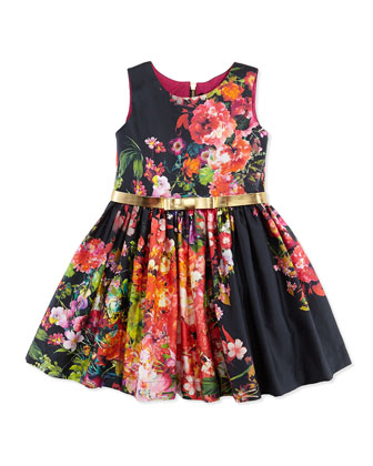 Vintage Floral-Print Fit-And-Flare Dress, Sizes 2-6X