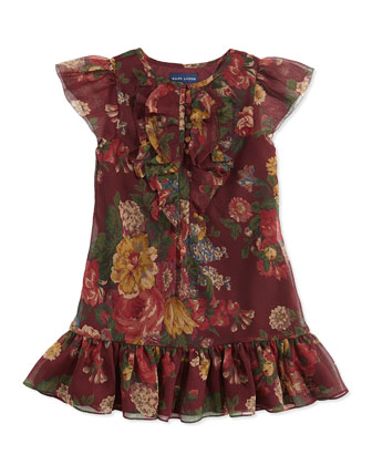 Ruffled Floral-Print Chiffon Dress, Bordeaux, Sizes 2T-3T
