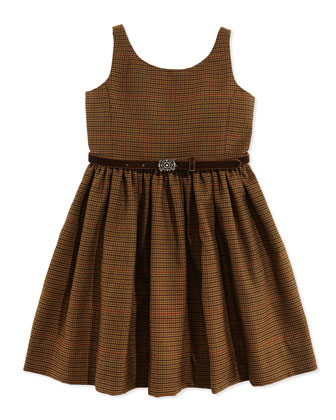 Houndstooth Tweed Jumper Dress, Brown, Sizes 2T-3T