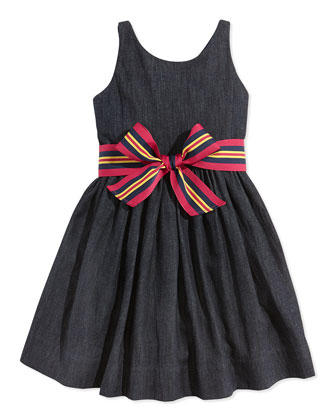 Bow-Belted Denim Fit-And-Flare Dress, Indigo Wash, Sizes 2T-3T