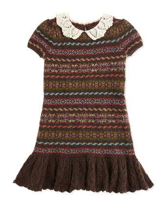 Fair Isle Mixed-Stripe Sweater Dress, Lichfield Brown, Sizes 2T-3T