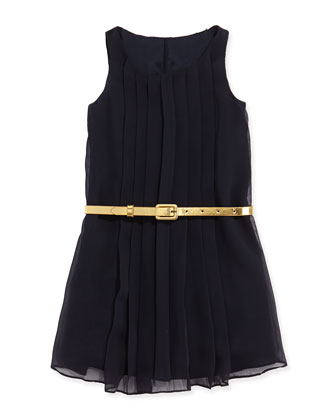 Sleeveless Pleated Chiffon Dress, Aviator Navy, Sizes 4-6X