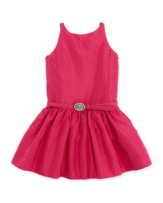 Silk-Faille Fit-and-Flare Dress, Hibiscus, 2T-3T