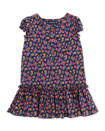 Floral-Print Chiffon Drop-Waist Dress, 2T-3T