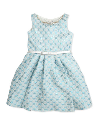 Brocade Bow-Belt Party Dress, 7-12