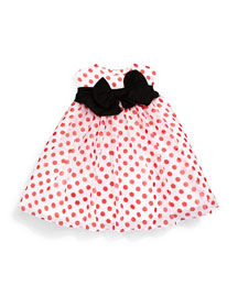 Sleeveless Polka-Dot Chiffon Dress, Red/White, Size 4-6