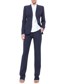 Constance Double-Face Wool Pants, Navy