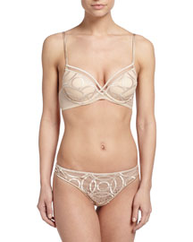 Moonlight Embroidered Push-Up Bra, Nude