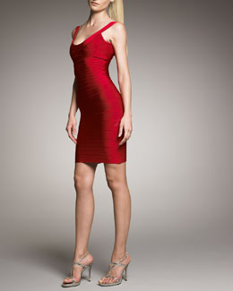 Herve Leger Scoop-Neck Bandage Dress, Lipstick