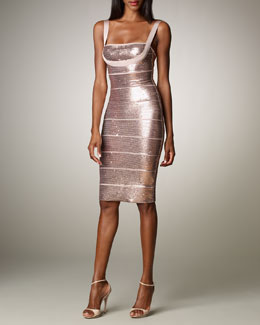 Herve Leger Sequined Bandage Dress