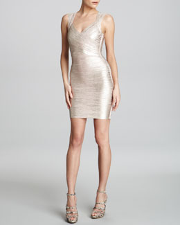Herve Leger Shimmer Bandage Dress