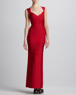 Herve Leger Open-Back Bandage Gown