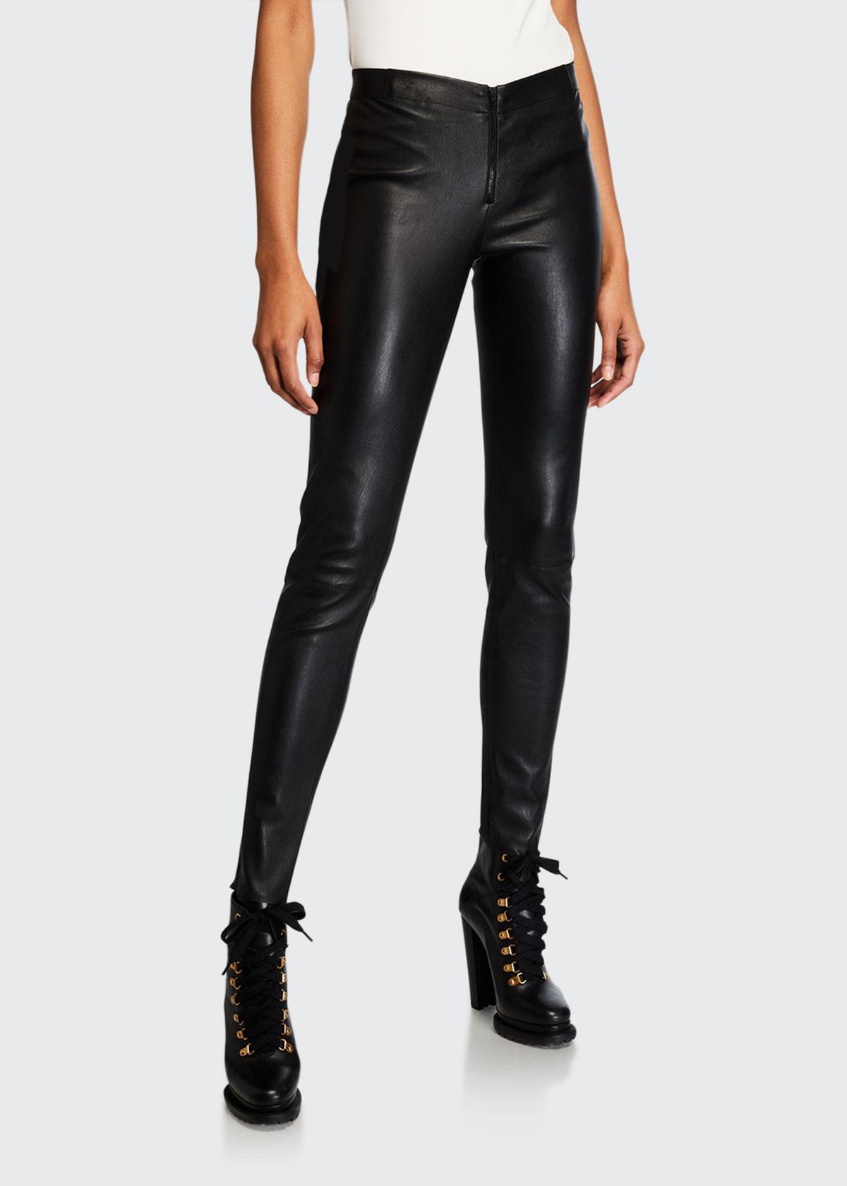 Alice + Olivia Lamb Leather Leggings, Size: 2, Black