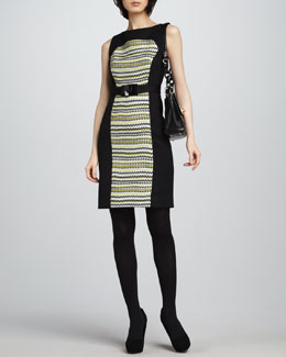 Milly Fiona Pattern-Panel Dress, Chartreuse