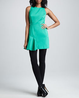 Milly Saxon Satin-Panel Dress, Clover
