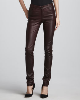 Vince Textured Leather Jeans, Merlot