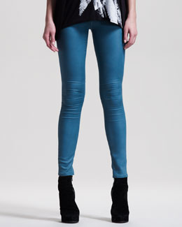 HELMUT Gloss-Wash Stretch Leggings, Seastar