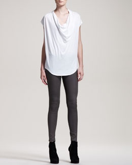 HELMUT Helmut Lang Gloss-Wash Stretch Leggings, Mud Gray