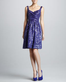 David Meister Signature Sequin-Jacquard Cocktail Dress