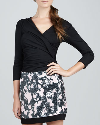 Bentley Faux-Wrap Top & New Koto Pencil Skirt