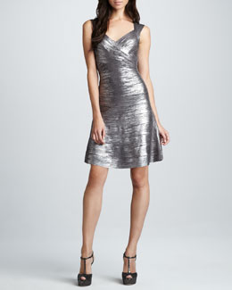 Herve Leger Shimmer A-Line Bandage Dress