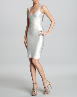 Herve Leger Basic Shimmery Bandage Dress