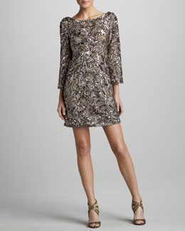 Marchesa Couture Sequined Silk Tunic Dress
