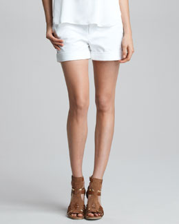 Vince Cuffed Boyfriend Shorts, White