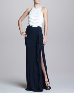 Naeem Khan Two-Tone Fringe-Top Gown